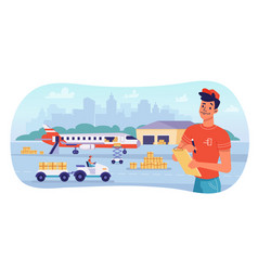 delivery logistics airplane parcels shipping vector image