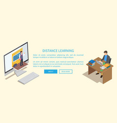 Distance learning banner with teacher and student vector