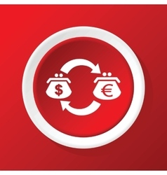 Dollar-euro exchange icon on red vector image