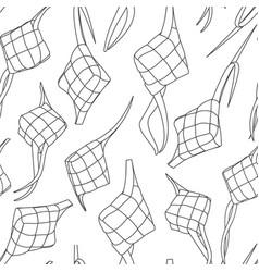 Eid al fitr ketupat rice cake black and white vector
