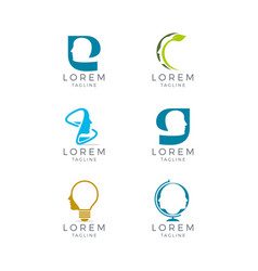 Face logo set vector