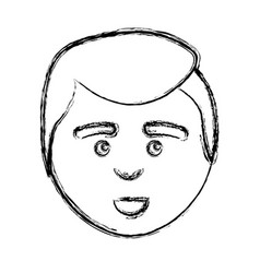 Figure man with facial expression and hairstyle vector