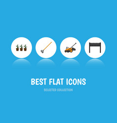 Flat icon farm set of lawn mower tool flowerpot vector