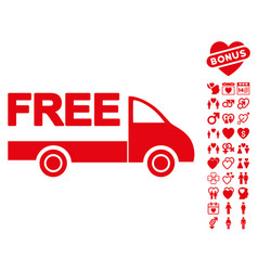 free delivery icon with valentine bonus vector image
