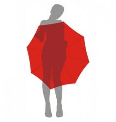 girl behind umbrella vector image vector image