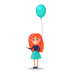 girl with balloon isolated on white vector image