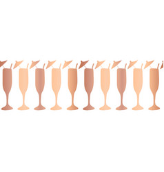 Gold copper foil champagne flutes pattern border vector