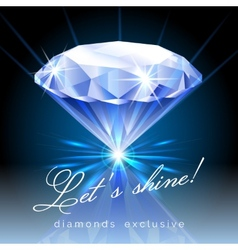 Graphic shining diamond with text vector