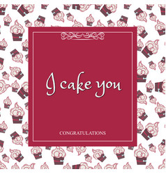 greeting card with a background of cakes with vector image