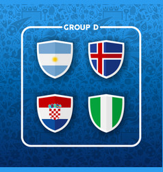 Group d russian soccer event country flag list vector