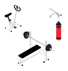 gym bench with barbell gym bike and boxing bag vector image