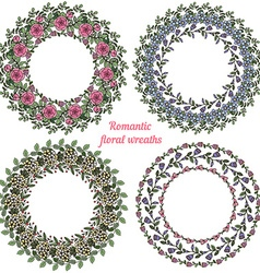 Hand drawn floral frames Circle natural wreaths vector image