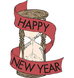 happy new year hourglass designed vector image