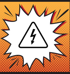 high voltage danger sign comics style vector image