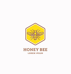 honey bee abstract sign symbol or logo vector image