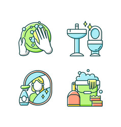 housewife chores rgb color icons set vector image