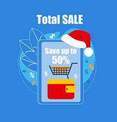 huge smartphone with santa claus hat on top sale vector image