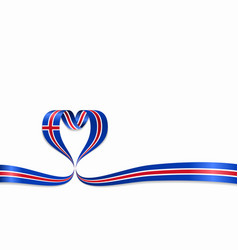 icelandic flag heart-shaped ribbon vector image