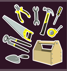 is a set of cartoon tools vector image