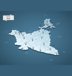 isometric 3d india map concept vector image