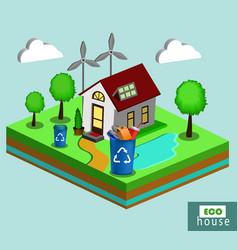 Isometric eco house vector