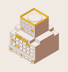 Isometric outline multi-storey hotel yellow color vector
