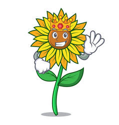 king sunflower mascot cartoon style vector image