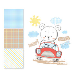 Little bear in car surface pattern and 3 seamless vector