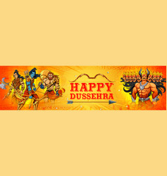lord rama and ravana in dussehra navratri festival vector image
