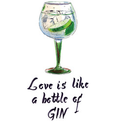 love is like a bottle gin vector image