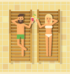 man and woman drinking cocktails in chaise vector image