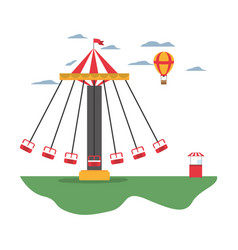 mechanical swing chair and air balloon with shop vector image