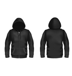 Mockup with realistic black hoodie vector