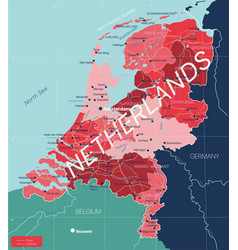 netherlands country detailed editable map vector image