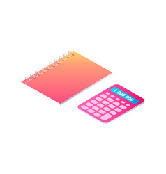 notebook and calculator cartoon banner vector image