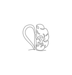 one continuous line drawing half human brain vector image