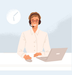 Operator call center in headset working vector