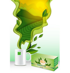 Paper cut 3d green tea poster template vector