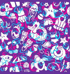 pattern swim color doodle 1 vector image