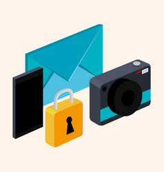 Photo camera smarthpone email and lock on white vector