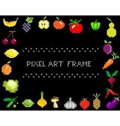 pixel-art fruit and vegetables on black frame vector image