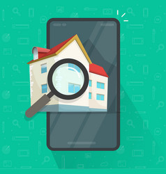 Real estate mobile phone searching reviewing vector