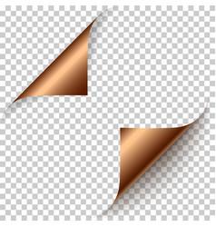 realistic bronze foil paper corners set vector image