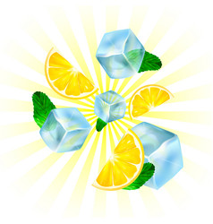 realistic ice lemon and mint vector image