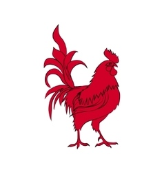 Red silhouette of rooster Chinese New Year 2017 vector image