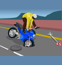 Rider falling due to open road gutter vector