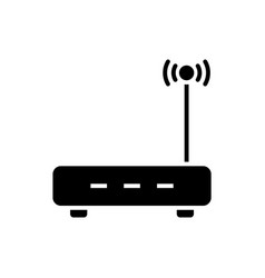 Router black icon on white background wireless vector