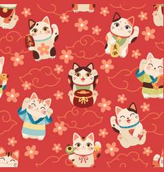 seamless japanese maneki cats pattern lucky asian vector image