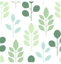 seamless pattern of abstract trees and leaves on a vector image vector image