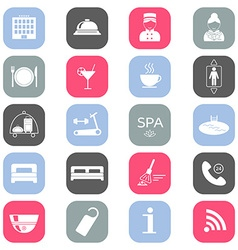 Set of colored hotel icons Flat design Silhouette vector image